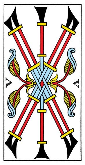 קלף חמישה מטות בקלפים של מרסיי