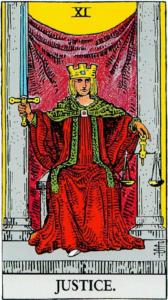 הקלף צדק בחפיסת הקלפים של ריידר