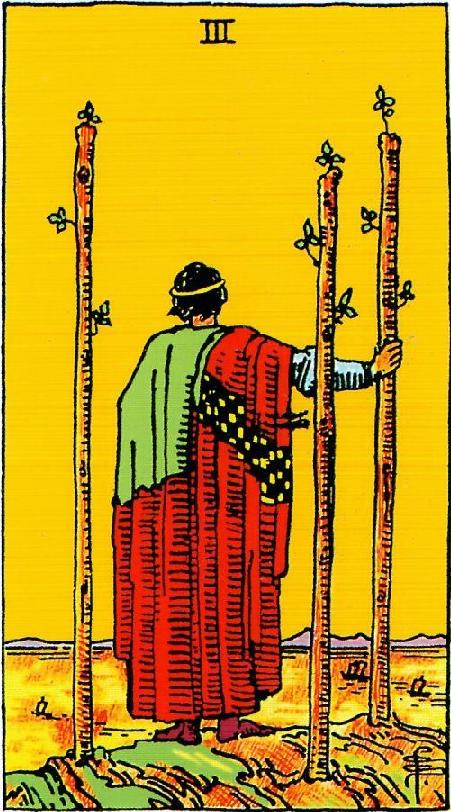 קלף שלושה מטות בקלפים של ריידר