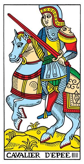 קלף אביר החרבות בקלפים של מרסיי CBD