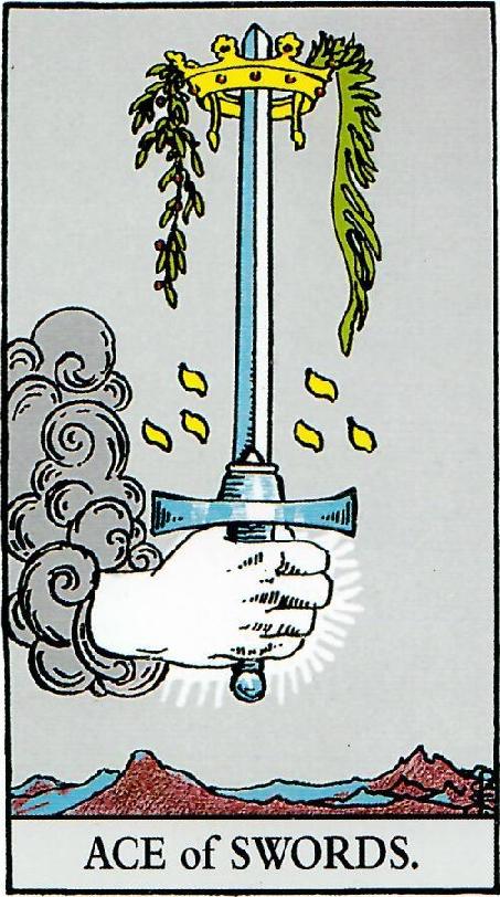 קלף אס החרבות בקלפים של ריידר
