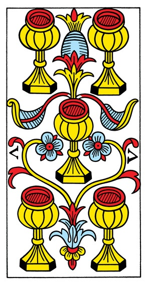 קלף חמישה גביעים בקלפים של מרסיי CBD