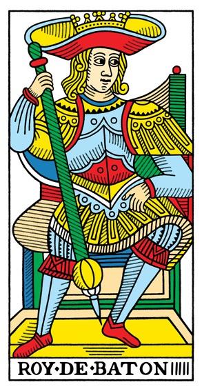 קלף מלך המטות בקלפים של מרסיי CBD