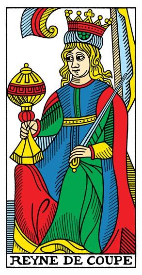 קלף מלכת הגביעים בקלפים של מרסיי CBD
