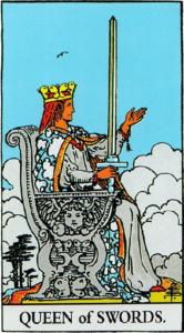קלף מלכת החרבות בקלפים של ריידר