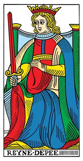 קלף מלכת החרבות בקלפים של מרסיי CBD