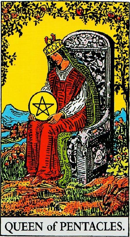 קלף מלכת המטבעות בקלפים של ריידר