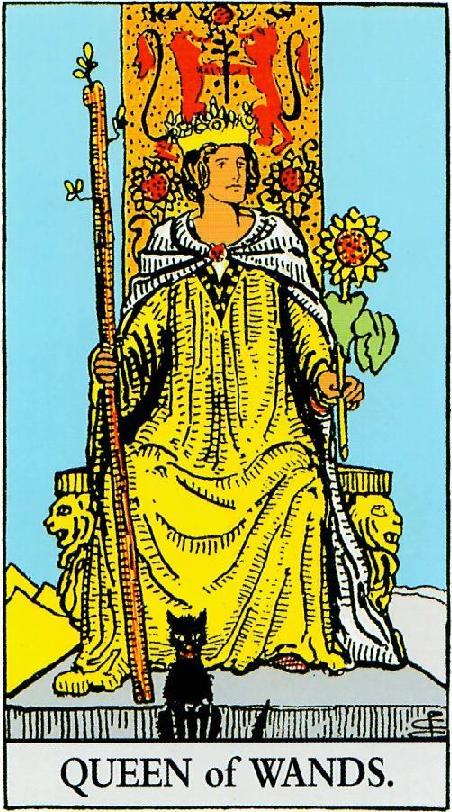 קלף מלכת המטות בקלפים של ריידר