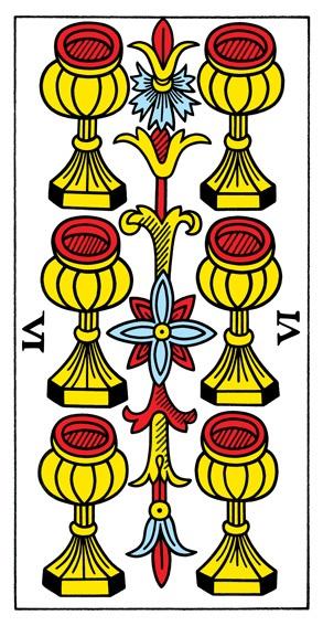 קלף שישה גביעים בקלפים של מרסיי CBD