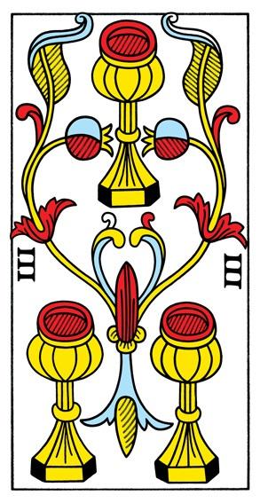 קלף שלושה גביעים בקלפים של מרסיי CBD