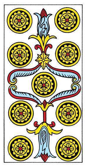 קלף תשעה מטבעות בקלפים של מרסיי CBD