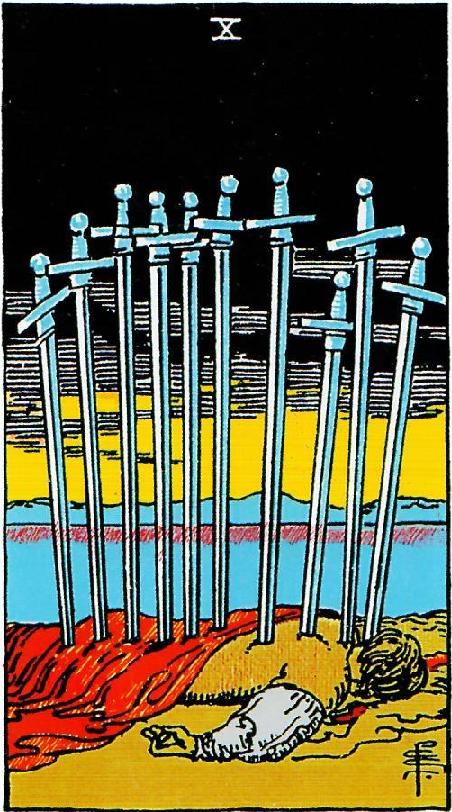 קלף עשר חרבות בקלפים של ריידר