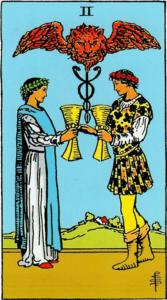 קלף שני גביעים בקלפים של ריידר