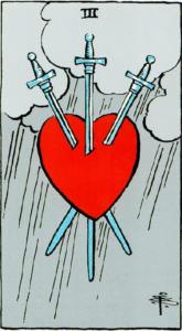 קלף שלוש חרבות בקלפים של ריידר