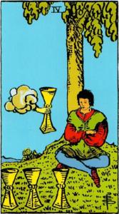 קלף ארבעה גביעים בקלפים של ריידר
