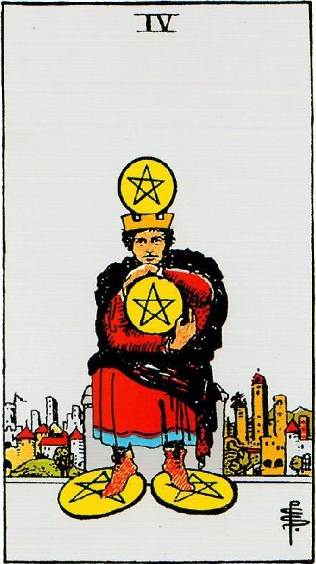 קלף ארבעה מטבעות בקלפים של ריידר