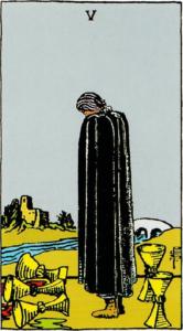 קלף חמישה גביעים בקלפים של ריידר