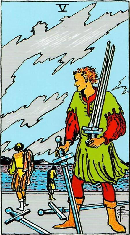 קלף חמש חרבות בקלפים של ריידר