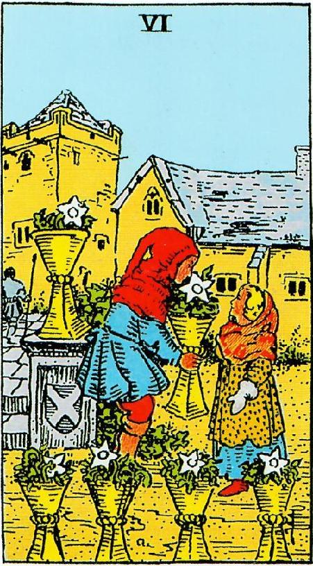 קלף שישה גביעים בקלפים של ריידר