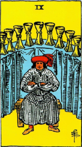 קלף תשעה גביעים בקלפים של ריידר